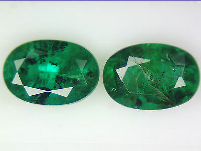 1.13 Ct 2 Pc Natural Zambian Emerald Pair Green Oval Cut 6 X 4Mm Certified Loose