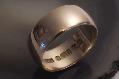 AN ANTIQUE SOLID 9ct ROSE GOLD D-SHAPE WEDDING BAND RING SIZE O/P (US 7.5)