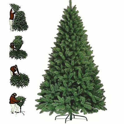 8ft 1300 Tips Green Artificial Christmas Tree with Metal Stand Xmas Decorations