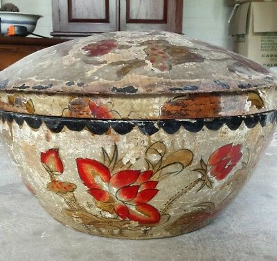 Antique Chinese Asian Paper Mache Basket/Bowl Hand Painted Original