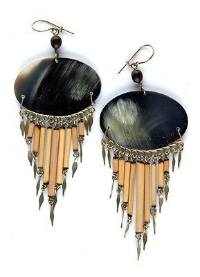 Black Oval Horn Ethnic Hook Earrings with Bamboo Drops & Seeds Handmade in Peru