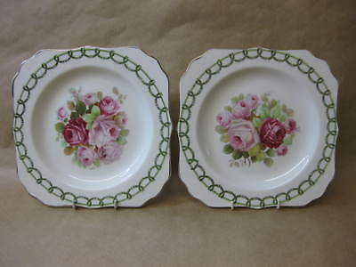 "2 Royal Doulton Art Deco Plates ~ 8"" Square ~ Gorgeous Pink Roses ~ c.1936"