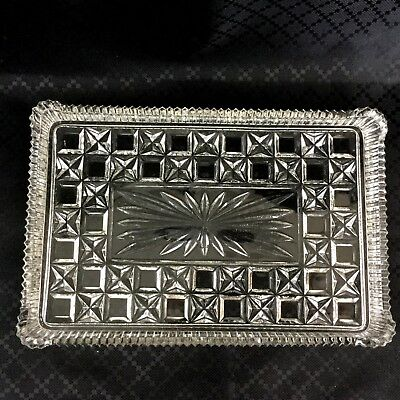 Vintage Glass Tray Cube Starburst  Art Deco Vanity Stand Serving Plate Saw cut