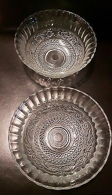set of 2 Vintage KIG Malaysia pressed glass bowls ribbed clear glass holder