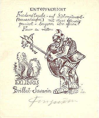 Fingesten Original Ex Libris DEEKEN N. 111 Signed in pencil