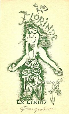 Fingesten Original Erotic Ex Libris DEEKEN N.192 Signed in pencil