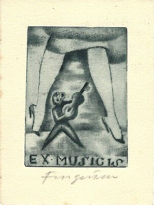 Fingesten Original Surreal Ex Libris DEEKEN N.731 Signed in pencil Ante Litteram