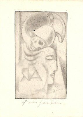 Fingesten Cubist Ex Libris Firmato Signed in pencil Published DEEKEN N.004