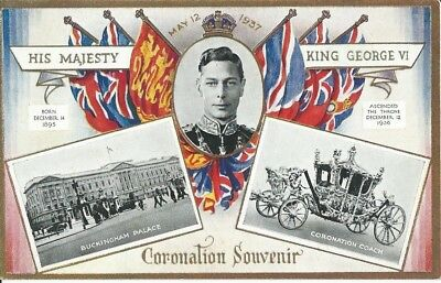 Royalty, Coronation Of King George Vi, 1937, Coloured Souvenir Postcard