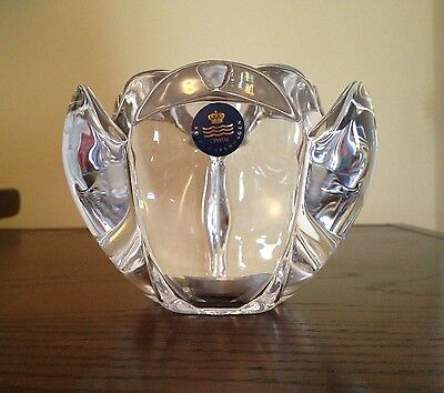 Large ROYAL COPENHAGEN Crystal LOTUS Votive Candle Holder w/Sticker Denmark