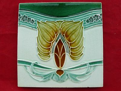 Unusual Antique Majolica Art Nouveau Green Tile Stylised Flowers / Flames