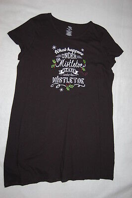 Womens Black Nightgown WHAT HAPPENS UNDER THE MISTLETOE.. Sleep Shirt L-XL 14-18