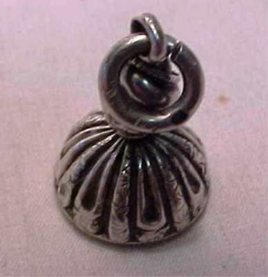 Antique Small Ornate Victorian Silver Seal Great= Albert Chain Fob Charm Pendant