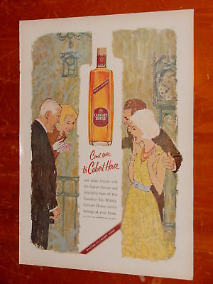 Canadian 1960 Calvert House Rye Whisky Vintage Ad - Beautiful Illustration Art
