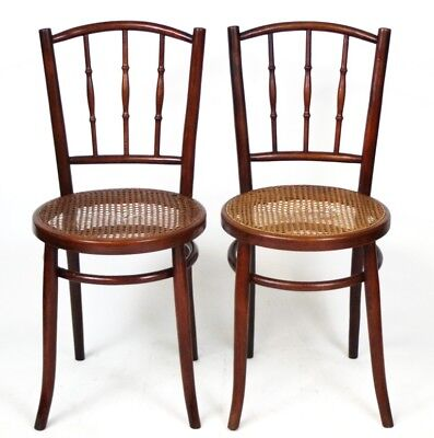 A pair of Retro Bentwood Cane Seat Bistro Chairs - FREE Shipping  [PL3930]