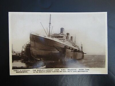 """THE WORLDS LARGEST LINER R.M.S """"MAJESTIC""""  real photo card."""