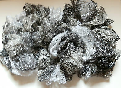 Fashion SPIRAL RUFFLE SCARF NEW Hand Made Black White Gray Silver Thread
