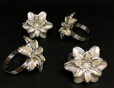 CHRISTMAS NAPKIN RING Set of 4 Pearl Chrome ROSE Roses Napkins Rings Table