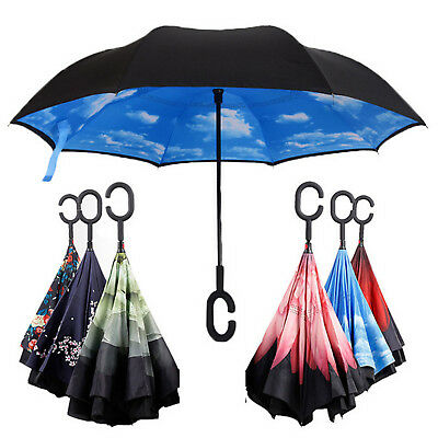 C-Handle Double Layer Umbrella Windproof Folding Inverted Upside Down Reverse US