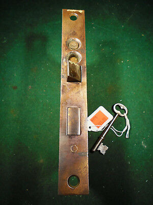 """VINTAGE PUSH BUTTON JAPANNED ENTRY MORTISE LOCK w/KEY  7"""" FACEPLATE (9775)"""