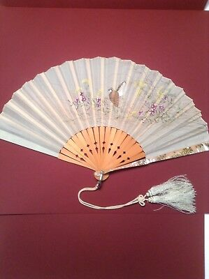 Antique Silk Hand Painted Hand Fan Mother Of Pearl Covered Guards