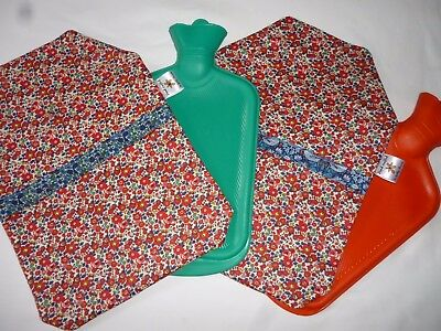 Liberty of London Hot Water Bottle Cover Betsy Anne/Thief/Petal Hand crafted/Red