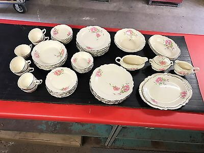 53 piece HOMER LAUGHLIN VIRGINIA ROSE Complete serving set and place setting