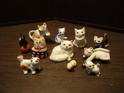 Lot of Porcelain & Resin Cats & Kittens - Miniature
