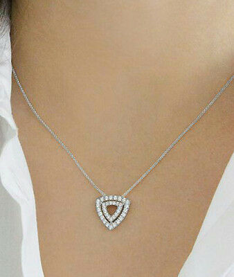 Solid 925 Sterling Silver Beautiful double Trinagle Style Pendant Chain Necklace