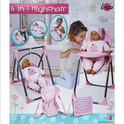 Lissi Pink 6-in-1 Doll's Highchair