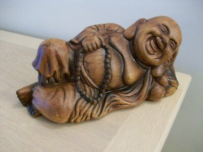 A Vintage Resin Reclining Buddha  Happy Smiling
