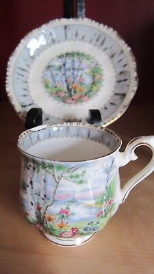Royal Albert Cup And Saucer Silver Birch