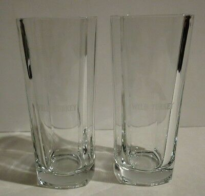 Wild Turkey Etched Bourbon Tall Glasses Set of 2