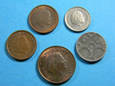 Netherlands lot of (5) old dutch coins (0668)