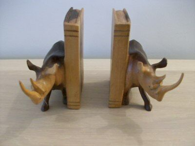 A Vintage  Wood Carved  Rhino Book Ends  In V.g.c