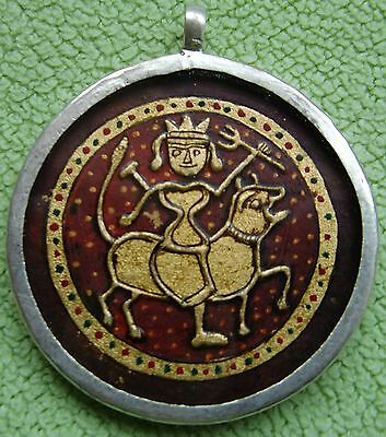 Embossed Painting Of Hindu Lord Baba Ramdev On Horse Silver Necklace Pendant