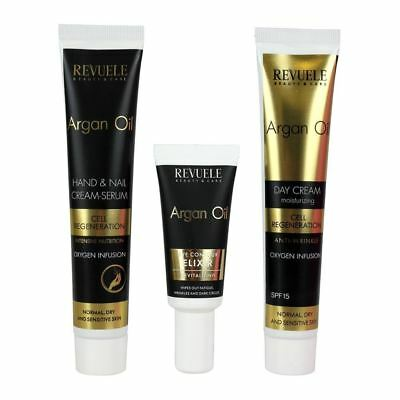 Revuele Argan Oil Gift Set Cell Regeneration Day Cream Eye Elixir Hand Cream