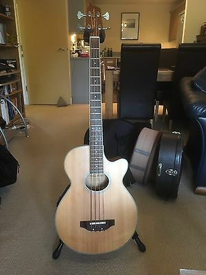 Harley Benton Acoustic bass with Tribal Planet case.