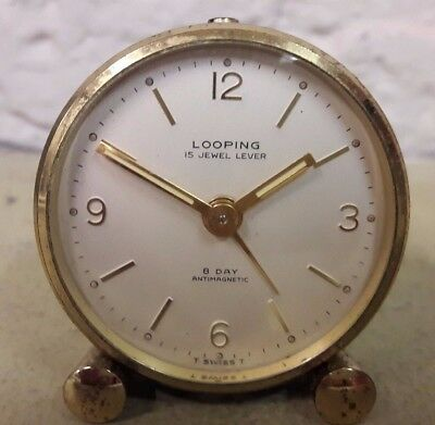 Old Miniature High Quality Looping 8 Day Alarm Clock-No Reserve!!!