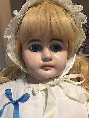 """Antique Paper Mâché Doll With Beautiful Blue Glass Eyes-30"""" Tall-FINAL SALE!!!"""