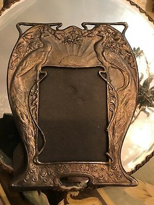 Vintage 1920's Art Deco Spelter Metal Peacock Picture Photo Frame Good Condition