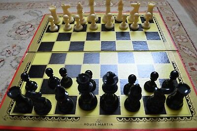 Vintage Set Of Chessmen Chess Pieces Board Complete