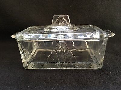 Vintage Art Nouveau Style Glass Butter Dish With Lid