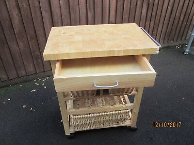 Wooden Butchers Block Kitchen Trolley from Cargo