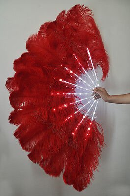 """Red Glittery LED Shine Bushy Double Ostrich Feather Fans Burlesque 28"""" x 53"""""""