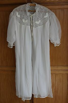 Vintage Peignoir Lingerie Negligee Robe Sheer Lace Sweep Ivory Bridal Chiffon