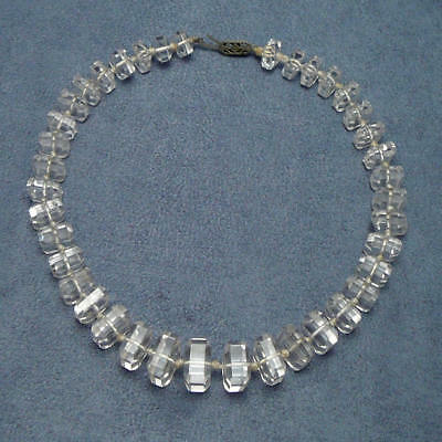 Art Deco Necklace Unusual Square faceted Crystals Graduated Glass Beads Vintage