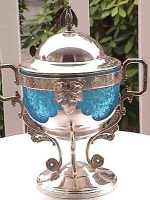 ANTIQUE WEBSTER SILVERPLATE PICKLE or SUGAR CASTOR  RARE COLOR INSERT BEAUTIFUL