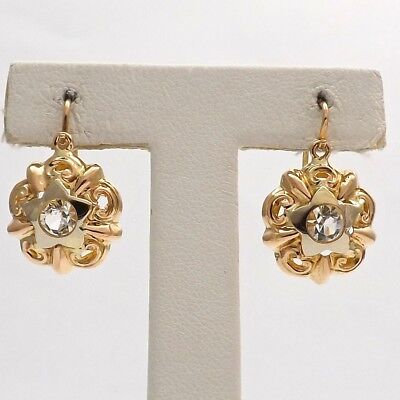 Art Deco 18k Two Tone Gold Paste Stones Front Closure Lever Back Earrings 3.1gr