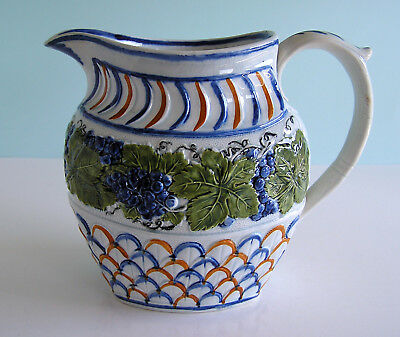 Staffordshire Pearlware Prattware ~ Vine and Scale Pattern ~ Milk Pitcher c1805